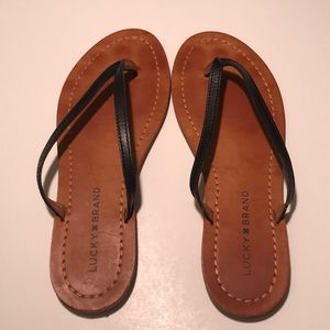 Lucky Brand Flip Flops Leather Plain Thong